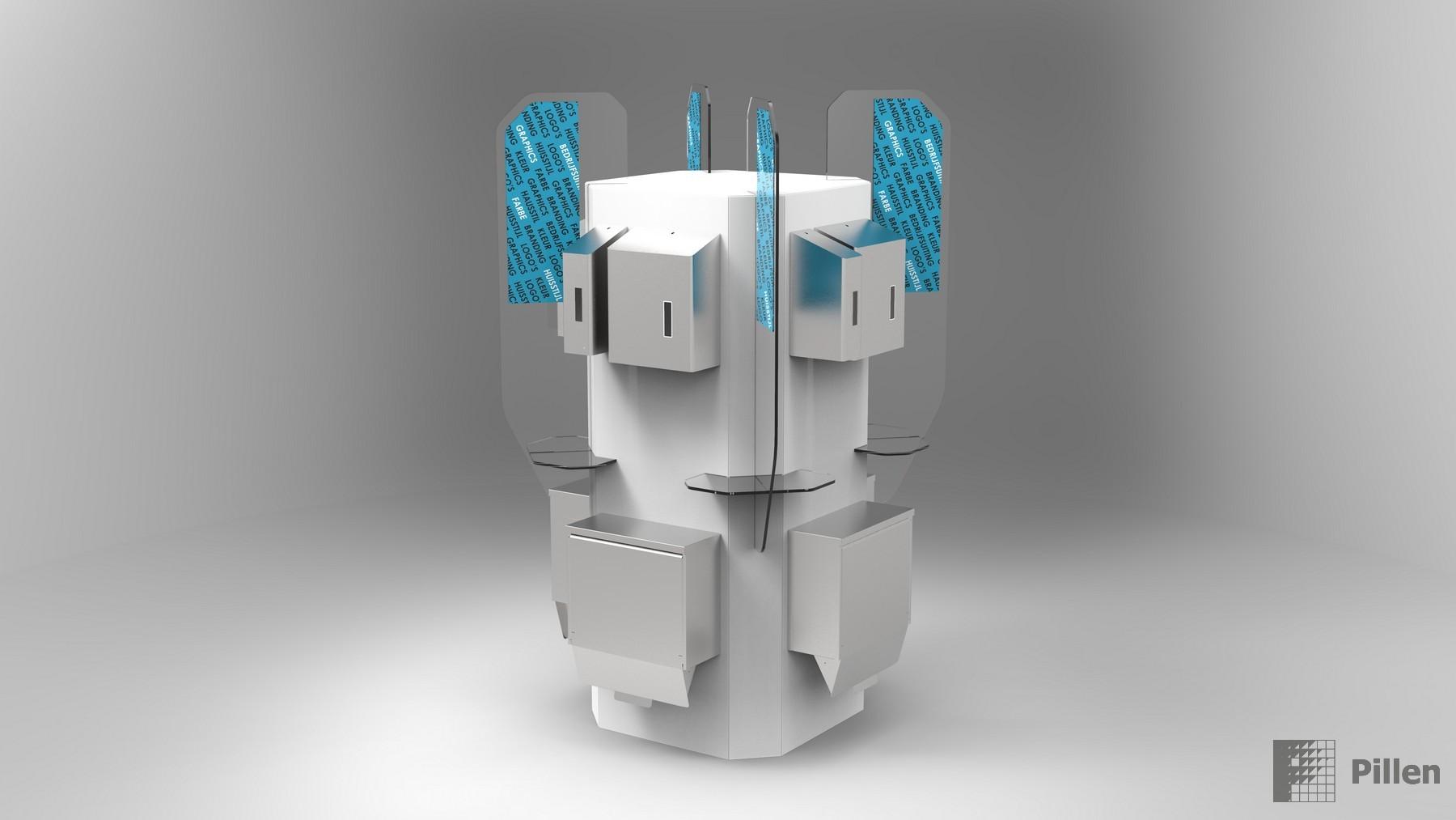 Hygiene Display als Säule Komplett ausgestattet