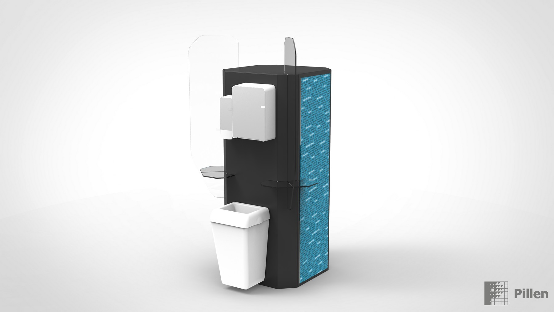Hygienezuil als desinfectie station met dispensers
